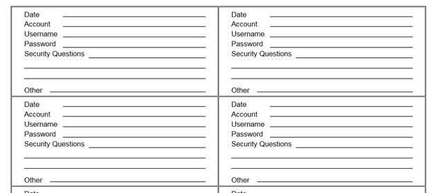 Print This Free Form To Keep Track Of Your Passwords And
